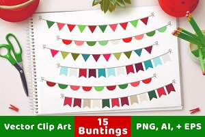 15 Christmas Buntings Clipart