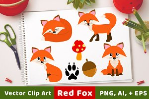 Red Foxes Clipart