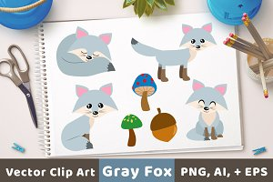 Gray Foxes Clipart, Silver Fox