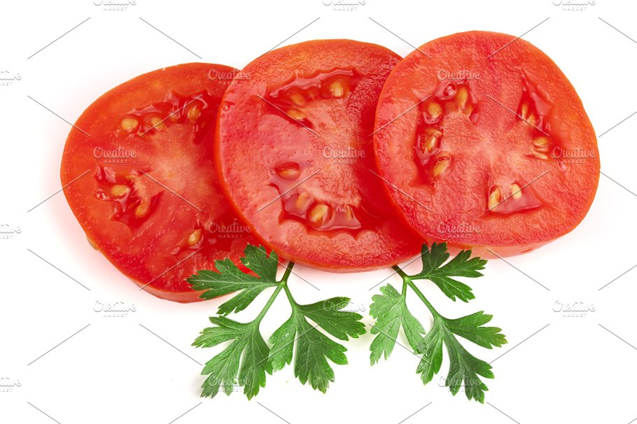 three tomato slice with leaf parsley isolated on white background