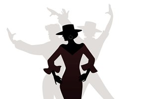 Silhouette of three flamenco dancers