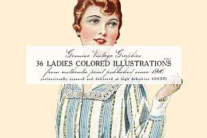 36 Ladies Colored Illustrations 1