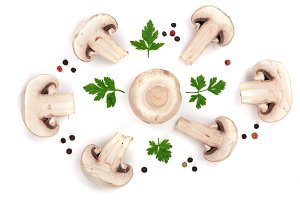 mushrooms with parsley leaf peppercorns isolated on white background. top view