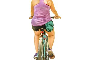 Isolated Photo Adult Woman Riding Bicycle
