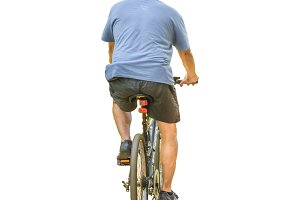 Isolated Photo Adult Man Riding Bicycle