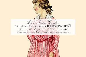36 Ladies Colored Illustrations 2