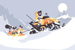 Man on snowmobile drives children