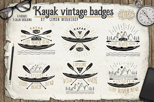 Kayak Vintage Badges Set