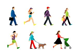 People in city illustration