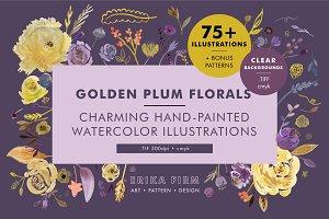 Golden Plum Floral Watercolors