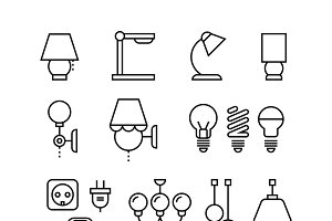 Electrical devices icons set