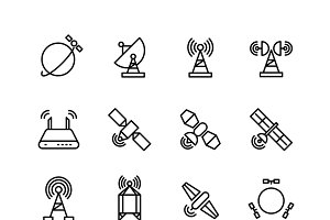Space orbit communication line icons
