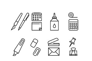 Stationery thin line vector icons