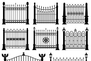 Decorative fences and gates set