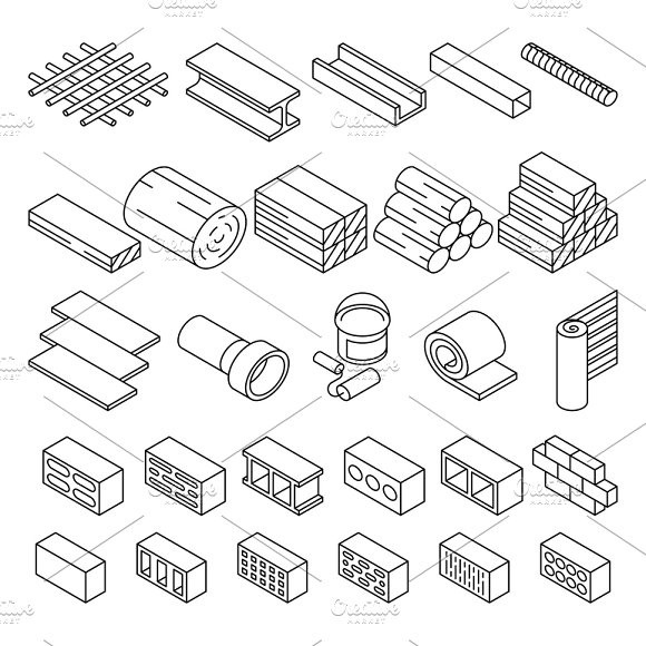 Set Of Bricks And Wooden Blocks