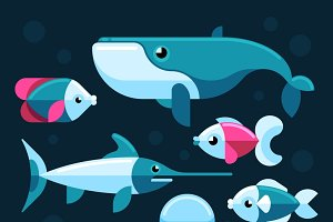 Ocean, salt sea fishes vector set