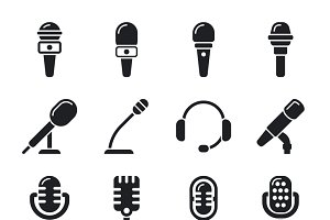 Microphone, sound, radio icons