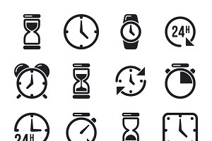 Clock and chronometer pictograms