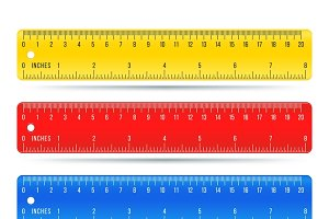 Stationery color ruler vector set