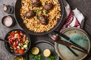 Rice with meat balls