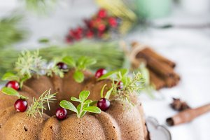 Christmas cake with cranberries