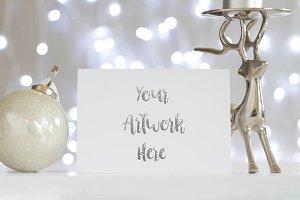 A6 Tent Card mockup-Silver Christmas