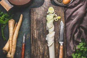 Sliced leek on cutting board