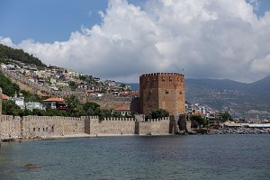 seascape with Red Tower in Alanya