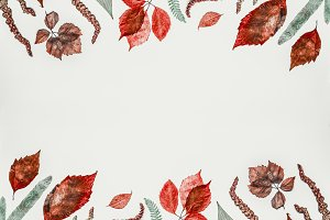 Autumn leaves composing frame