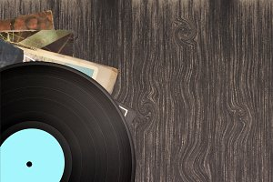 vinyl record on wood