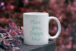 White coffee mug mockup autumn bokeh