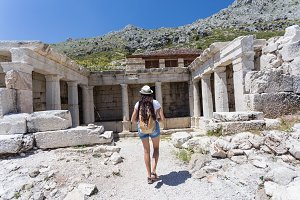 Woman traveller exploring ancient ruins of Sagalassos