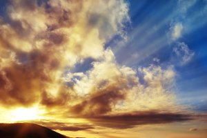 Sunset blue sky with sun