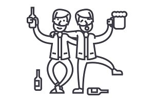 drunk people,drunk party,two men drinking vector line icon, sign, illustration on background, editable strokes