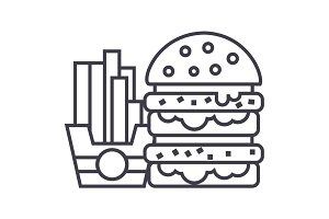 fast food,burger and fries vector line icon, sign, illustration on background, editable strokes