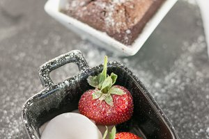 Ice-cream with strawberry and brownie