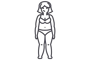 fat woman,diet vector line icon, sign, illustration on background, editable strokes
