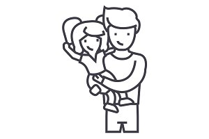 father with daughter,dad with kid vector line icon, sign, illustration on background, editable strokes