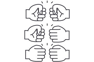 fist bump vector line icon, sign, illustration on background, editable strokes