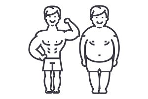 fitness,before and after,strong man,fat guy vector line icon, sign, illustration on background, editable strokes