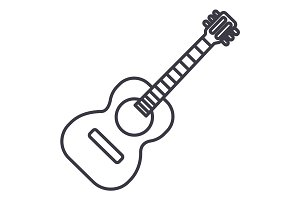 flamenco guitar illustration vector line icon, sign, illustration on background, editable strokes