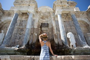 woman traveller enjoying view of ancient city of Sagalassps