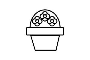 flower brush pot vector line icon, sign, illustration on background, editable strokes