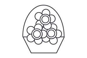 flowers vase vector line icon, sign, illustration on background, editable strokes