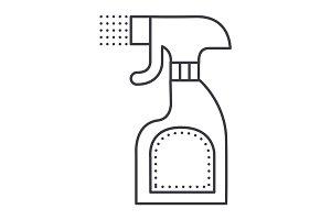 foggy spray bottle vector line icon, sign, illustration on background, editable strokes