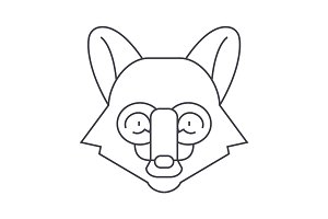fox head vector line icon, sign, illustration on background, editable strokes