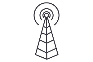 frequency antenna,radio tower vector line icon, sign, illustration on background, editable strokes