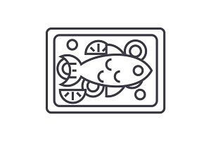 fried fish vector line icon, sign, illustration on background, editable strokes