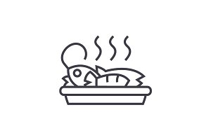 fried fish, lunch vector line icon, sign, illustration on background, editable strokes
