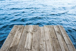 Empty wooden platform